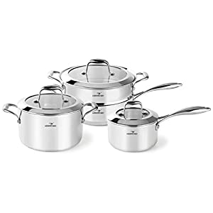 HOMI CHEF 7-Piece Mirror Polished Nickel Free Stainless Steel Cookware Set (No Toxic Non Stick Coating, Stock Pot +Sauce Pan +Saute Pan +Steamer Insert, Whole-Clad 3-Ply) - Cookware Pots And Pans Sets