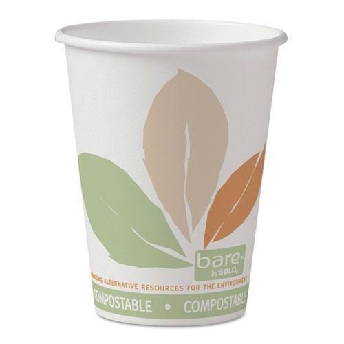 SOLO Cup Company 412PLNJ7234 Bare PLA Paper Hot Cups, 12oz, White w/Leaf Design, 50/Bag, 20 Bags/Carton