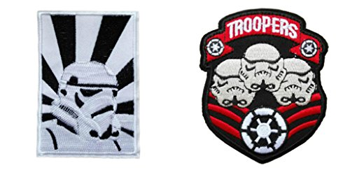 Stormtrooper Helmet and Stormtrooper 3 Head (2-Pack) Embroidered Iron/Sew-on Patch By Outlander