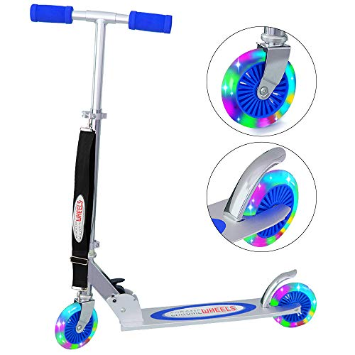 ChromeWheels Kick Scooter for Kids, Deluxe 4 Adjustable Height 2 Wheels with LED Flashing Light, for Age 5 up Kids, 132lb Weight Limit, Blue