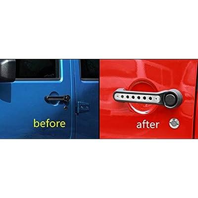 E-cowlboy Front Door & Back Door Aluminum Grab Handle Cover For 2007-2020 Jeep Wrangler JK & Unlimited 4 Door 5pcs/set: Automotive