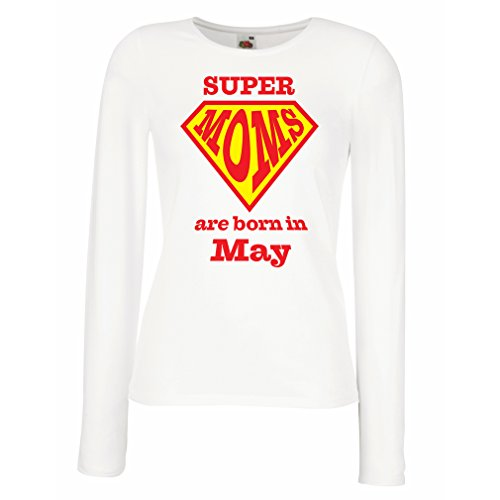 T Shirt Women Hand Printed Design Saying Super Moms are Born in May - for mom Birthday Gifts (XX-Large White Multi Color) -