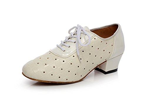 Color Latin QJ6223 Minishion Dance Block Satin Women's Salsa Beige Shoes aCBw6E