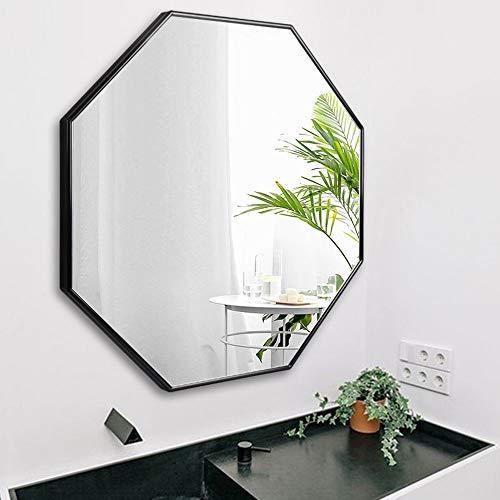 YHMT Bathroom Mirrors, Wall-Mounted Vanity Mirror, Octagonal Art Deco Mirror, Metal Frame -