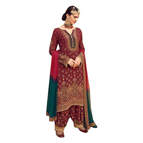 - Maroon Punjabi Ethnic wear Designer Maslin Digital Printed Salwar Suit Women Eid Party dress Bespoke 7893