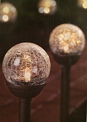 Hampton Bay 2-light Solar Remington Bronze Cracked Glass Globe Path Light (6-pack)