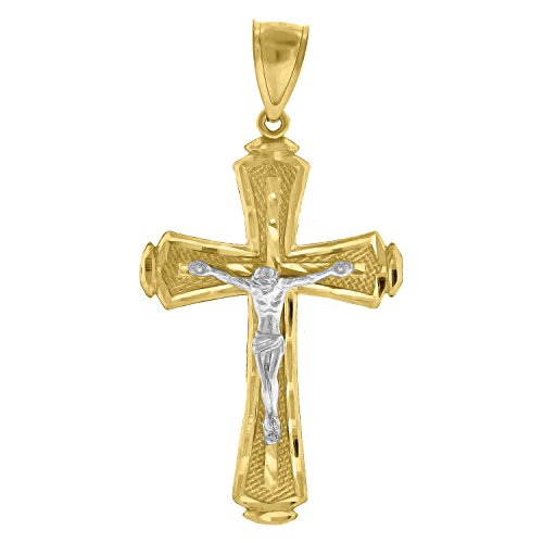 14kt Yellow and White Gold Mens Two-tone Diamond-Cut Cross Crucifix Jesus (Height with bail: 55.2mm) Pendant Charm (28.9mm x 55.12mm)