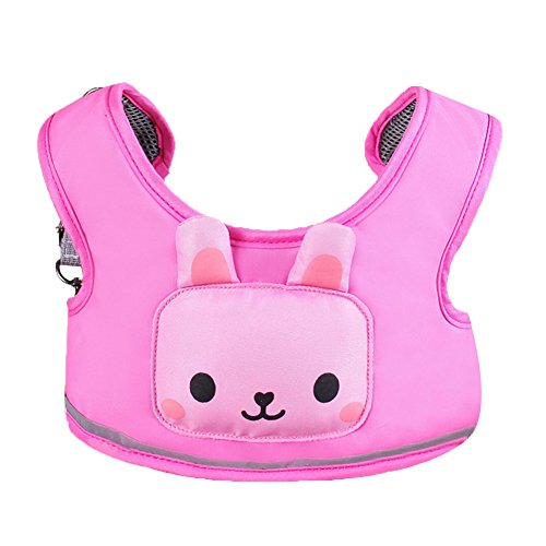Zicac 3-in-1 Toddler Walking Safety Harness + Portable High Chair + Cart Safety Strap,Cartoon Animal Learning Walkers (Pink)