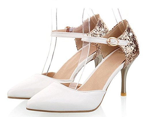 Women Ankle Pointed Toe Sandals High Heels Shoes (White) - 6