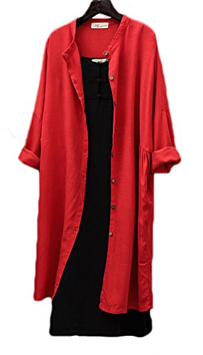 Soojun Women's Solid Color Cotton Linen Button Down Shirts Long Cardigan Coat Red