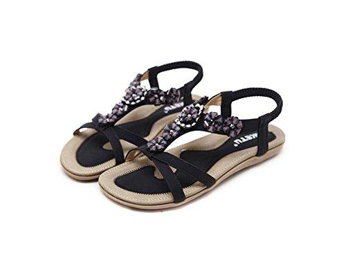 Women Slip Flip On Sandals Sandals Rhinestones Shoes Black Strap Bohemian Flat Flops Ankle Thong Braided HwFxZqHr