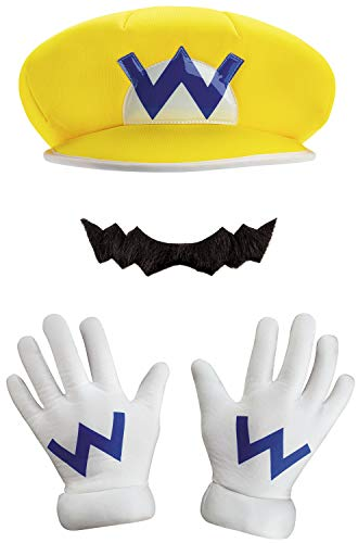 Wario Hat And Mustache (Disguise Super Mario Bros Nintendo Wario Instant Costume Kit Adult, Yellow / Purple,)