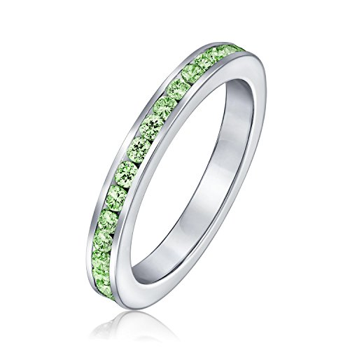 Cubic Zirconia Lime Green Stackable CZ Channel Set Eternity Band Ring Simulated Peridot For Women 925 Sterling Silver