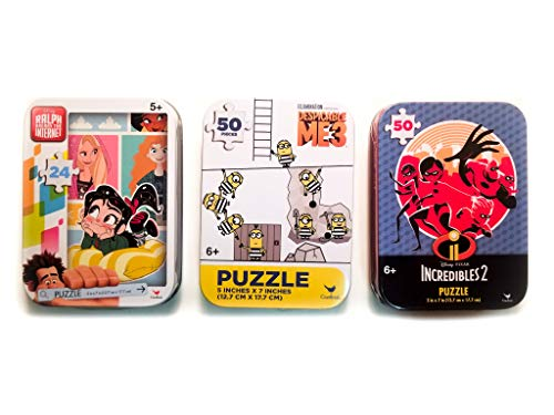 3 Collectible Puzzle Tins for Boys & Girls Ages 6+ Popular Movie Puzzles Gift Set Bundle with The Incredibles, Vanellope from Ralph Breaks The Internet & Minions from Despicable Me -