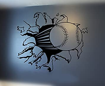 YINGKAI Sports Baseball Or Softball Bursting Through Wall Decal Living Room Boys Decor Vinyl Carving