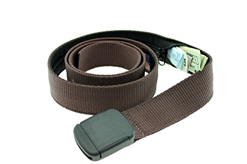 Hiker Money Belt Made in USA by Thomas Bates (Brown) - Money Belt Buckle