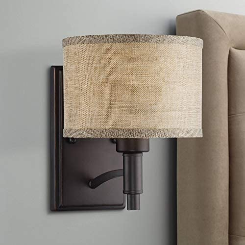 La Pointe Wall Lamp Oil Rubbed Bronze Hardwired 9″ High Fixture Oatmeal Linen Drum Shade