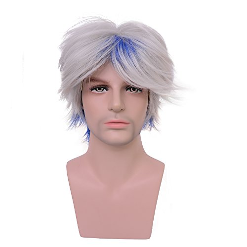 Yilys Men's Short Silver White with Blue Wig Halloween Cosplay Fashion Costume Hair
