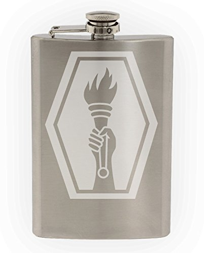 US Army - 100th Battalion - 442nd Infantry Regiment SSI Patch Etched 8oz Stainless Steel Flask ()