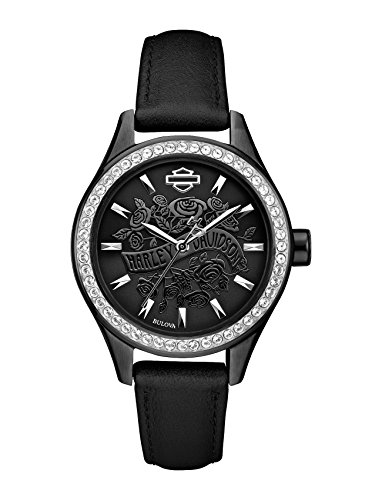 Harley-Davidson Women's Flower Power Black Leather Wrist Watch 78L119
