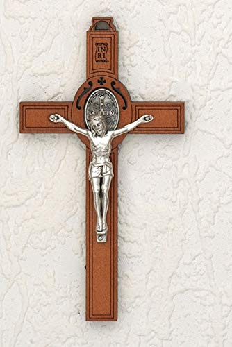 LMM001 Saint Benedict Wood Wall Cross - Silver Tone Medal