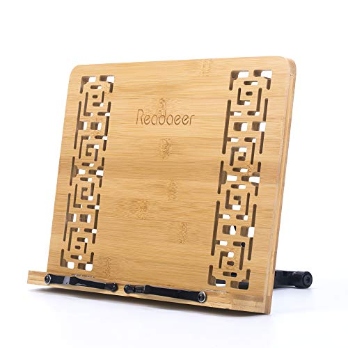 Reodoeer Bamboo Book Stand Reading Rest Cook Book Document Holder Foldable Pad Textbook Files Stand by Reodoeer