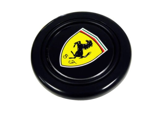 Gts Hood Shields - Ferrari Steering Wheel Horn Button with Black Horse on Yellow Shield Crest Logo Hood Badge and Black Background for 512 308 458 599 328 GTS GTO GTB M Dino 612 F430 360 550 355 F1 Spyder Mondial TS Modena F1 Scuderia Spider Challenge Testarossa