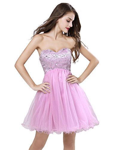 (Sarahbridal Women's Short Beaded Prom Dress 2019 Strapless Homecoming Dress Backless Pink US2)