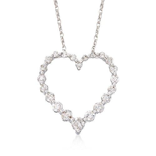 Ross-Simons 0.50 ct. t.w. Diamond Heart Pendant Necklace in 14kt White Gold ()