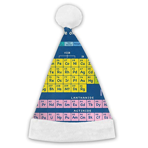 Huangwei 5th Grade Periodic Table Elements Unisex Christmas Santa Hat Xmas Costume Classic Hats Holiday Party for $<!--$33.73-->