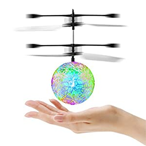 Flying Ball, YKS Children Flying Toys, RC infrared Induction Helicopter Ball Built-in Shinning Color Changing LED Lighting for Kids, Teenagers (Green)