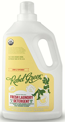 Rebel Green Organic HE Liquid Laundry Detergent - Eco Friendly, All Natural & Hypoallergenic - 64 Loads, Peppermint and Lemon Scented