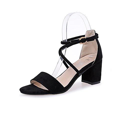- CARMELA HILL WILLIAMS Square Heel Fashion Women Sandals Casual Occasions Comfortable Female High Heel Sandals Black