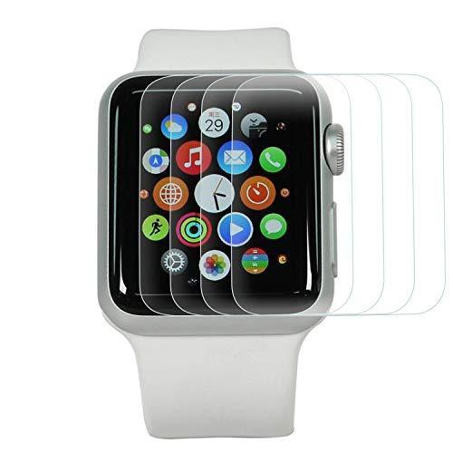 熟考する漫画固める保護フィルム Apple Watch 38mm Series 3 2 1,(4枚入り)強化ガラスフィルム スクリーン保護フィルム スチールフィルム 9H高硬度 耐衝撃 飛散防止 アンチ指紋スクラッチ