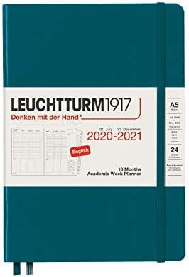 Akademischer Wochenplaner 2021 Hardcover Medium (A5), 18 Monate, Pacific Green, Englisch