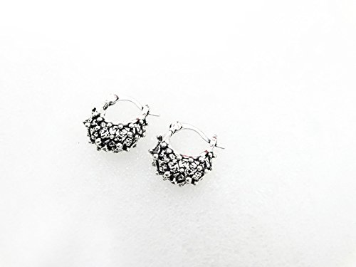 tone oxidized metal french lock dott bali earrings ()