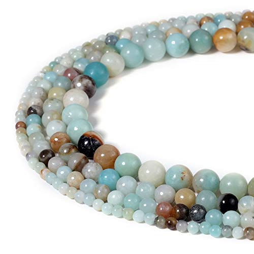 6mm Natural Amazonite Beads Semi Precious Gemstone Round Loose Stone Beads for Jewelry Making Strand 15 Inch (63-66pcs)