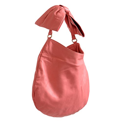 Red Valentino Women's Pink 100% Leather Bow Shoulder Hobo Bag (Bow Valentino Bag)