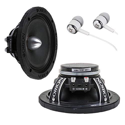 New Pair of Orion HCCA64N 1400 Watt 4-Ohm Loud Car Audio High Efficiency Mid-Range Speakers With FREE Alphasonik Earbuds