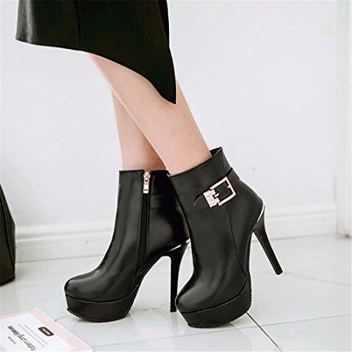 heels Autumn side platform thin code heel short high winter big Black woman boots zipper waterproof EqqwBF