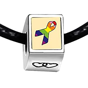 Chicforest Silver Plated rainbow color Aids Ribbon Photo Double Heart Charm Beads Fits Pandora Charms