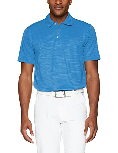 (Men's Pebble Beach Golf Polo Shirt with Short Sleeve and Spacedyed Check Textured Design, Regatta Blue, Large)