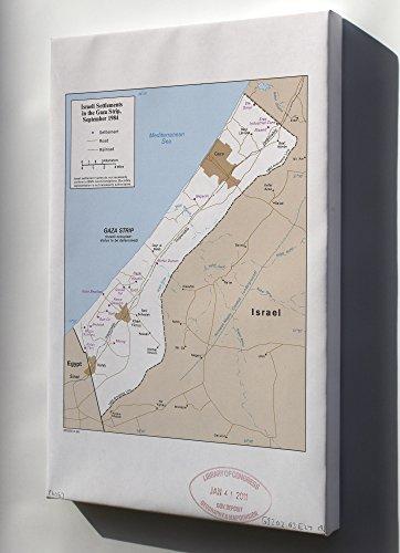 Canvas 24x36; Cia Map Israel Settlements Gaza Strip Sept 1984 (Strip Israel Map Gaza)