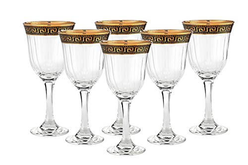 "Cheap ""Cristalleria Italian Decor"" Crystal Wine Beverage Goblet, 8 oz. Gold and Black Greek Key Ornament, Hand Made in Italy, SET OF 6 Glasses"