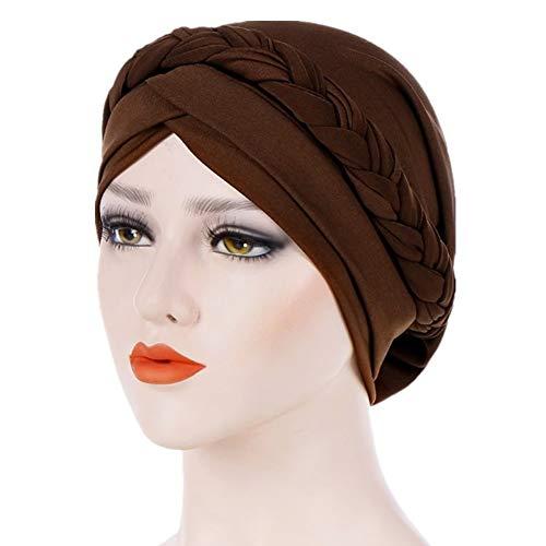 Brown Headwear - Fxhixiy Hijab Braid Silky Turban Hats for Women Cancer Chemo Beanies Cap Headwrap Headwear (Coffee)
