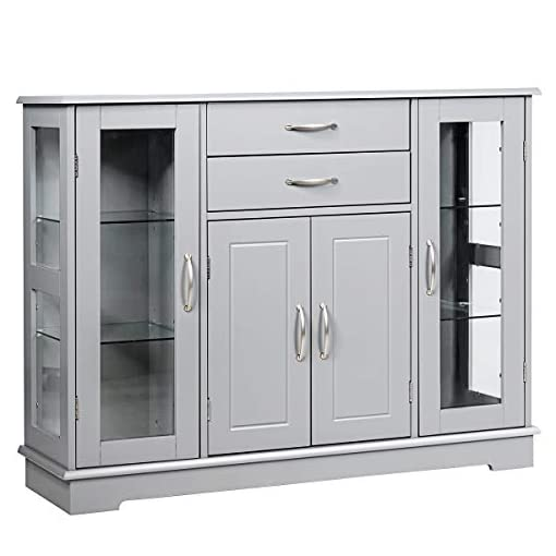 Kitchen Giantex Sideboard Buffet Server Storage Cabinet W/ 2 Drawers, 3 Cabinets and Glass Doors for Kitchen Dining Room… modern buffet sideboards