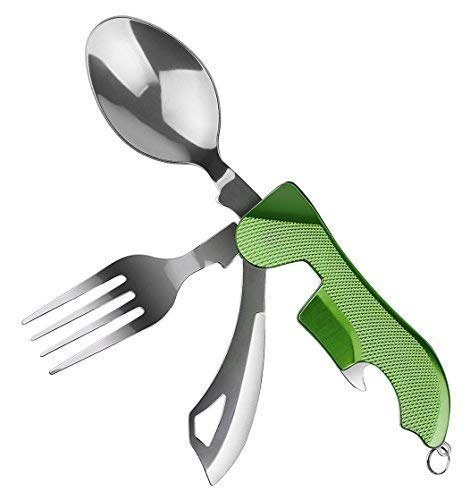 WETPIA 4-in-1 Camping Utensil Stainless Steel Fork Spoon Knife Bottle Opener Set for Camping Cutlery Set/Travel/Survival