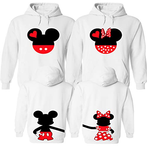 Mickey and Minnie Disney Family Set - Matching Disney Clothes with Disney Design on The Back White Large Women (Disney Sonnenbrille)