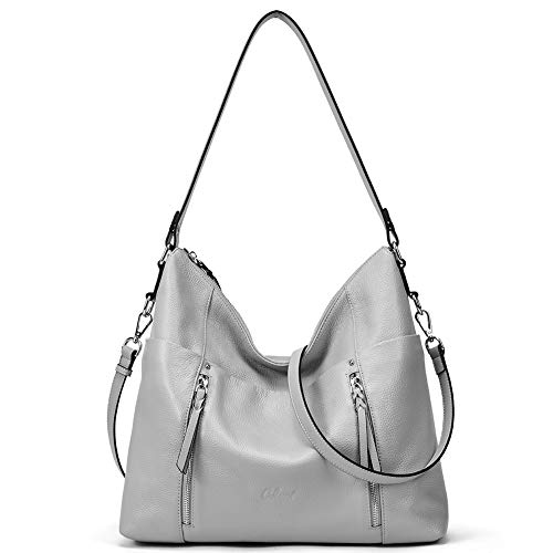 Women Soft Genuine Leather Hobo Handbags Top Handle Tote Bag Large Fashion Crossbody Shoulder Bag Gray ()