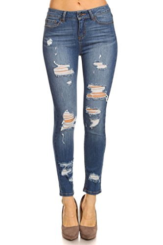 Vialumi Women's Destroyed Stretch Skinny Jeans Medium Blue 1